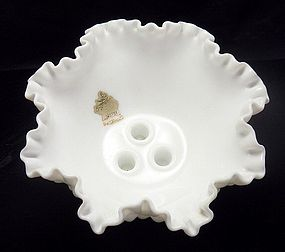 Fenton Milk Glass Hobnail Bowl w Three Candle Holders