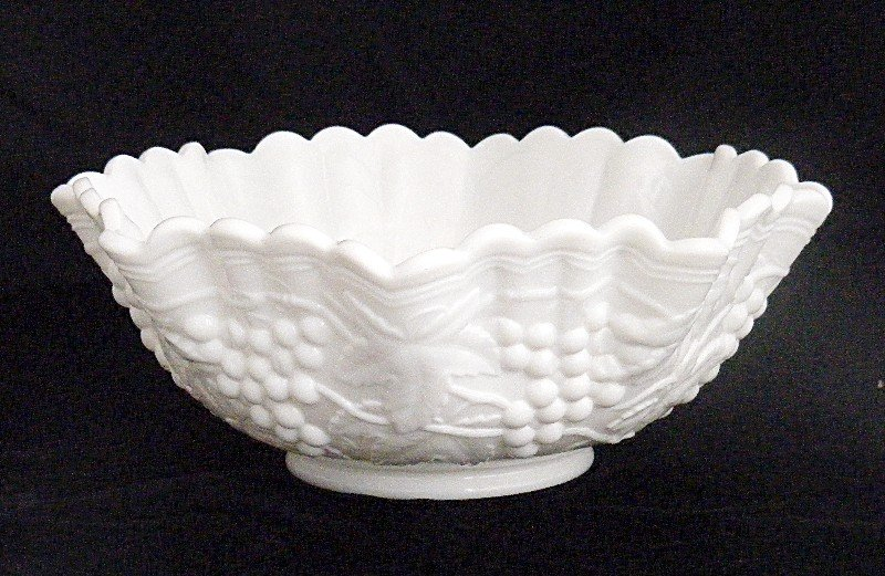 Imperial Grape and Leaves Milk Glass Console Bowl