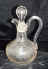 Antique Cruet Grey Cut Leaves & Vines w Bubble Stopper