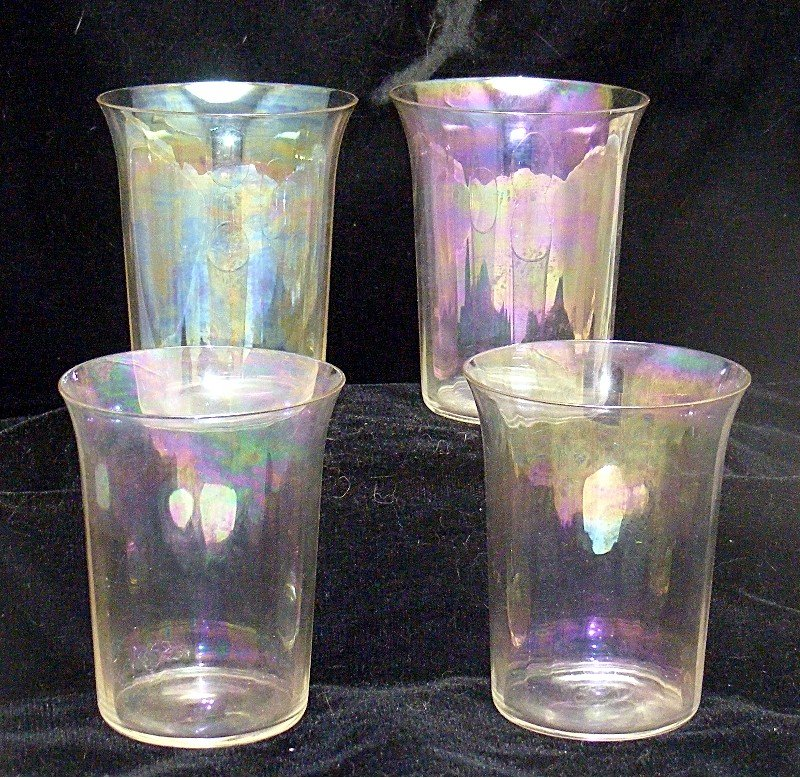 Irridize Cystal Clear  Panel Blown Water Tumblers