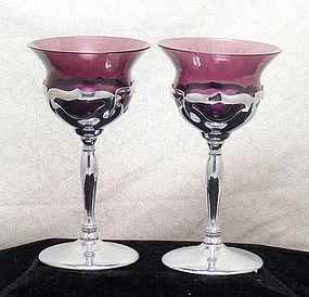 Cambridge/Farber Bros Amethyst Chrome Wine Stems