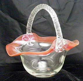 Glass Basket with Cranberry Trim and Twist Handle