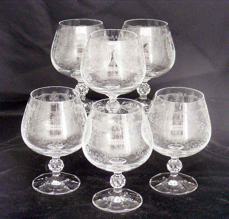 Brandy Snifters Wine Facet Ball Stems w Needle Etch