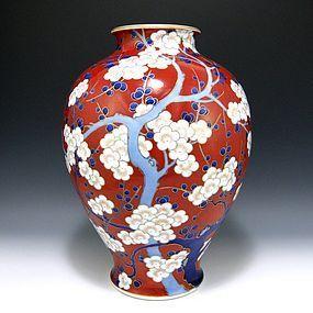 Koransha Red Enamel Plum Ume Fukagawa Japanese Vase