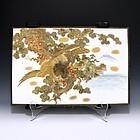 Japanese Meiji Kutani Hawk Plaque Tile
