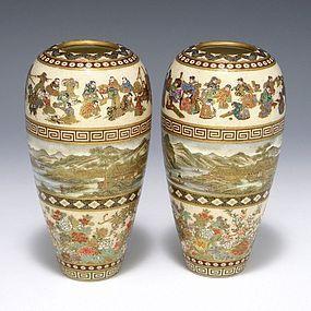 Yabu Meizan Satsuma Pottery Japanese Vase Pair