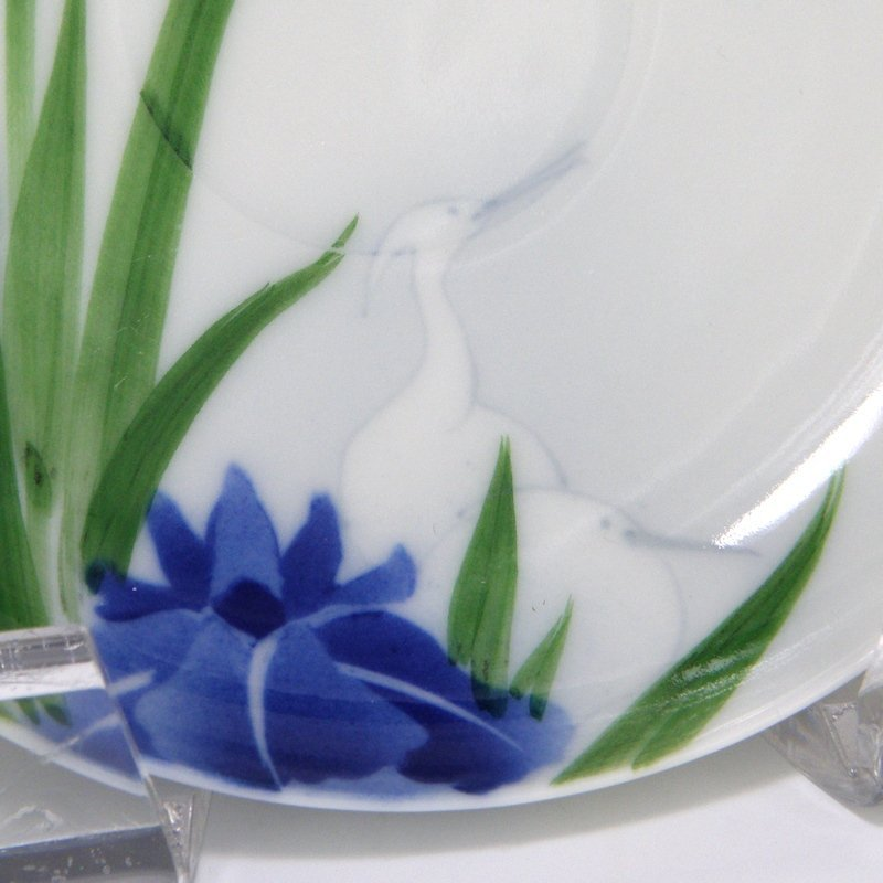 Nishiura Enji Japanese Iris Egret Tea Cup and Saucer