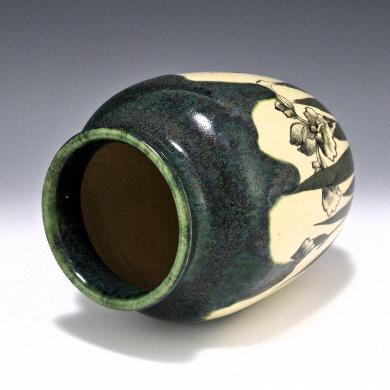 Sawamura Tosa Kyoto Drip Glaze Iris Japanese Vase