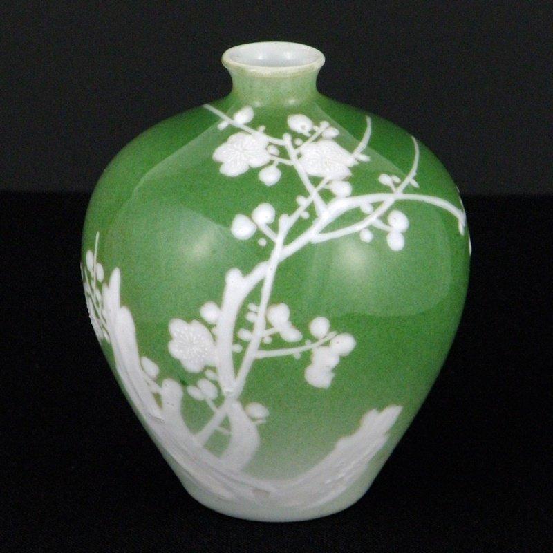 Nishiura Enji V Japanese Seto Moriage Enamel Plum Vase