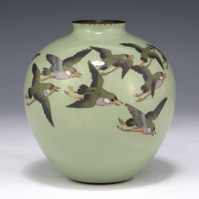 Japanese Cloisonne Enamel Swallow Vase