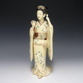 Miyanaga Tozan II Satsuma Pottery Bijin Statue Okimono