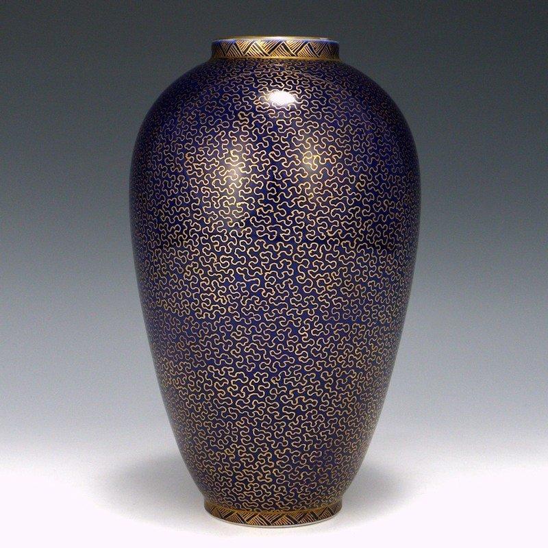 Meiji Japanese Fukagawa Arita Imari Gold Scroll Vase