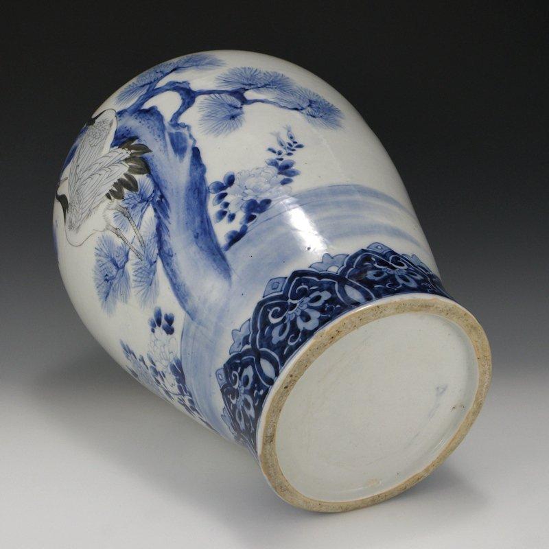 Meiji Arita Imari Japanese Crane & Pine Vase