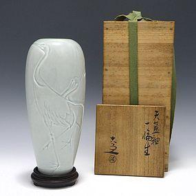 Kiyomizu Rokubei V Celadon Cranes Vase & Tomobako