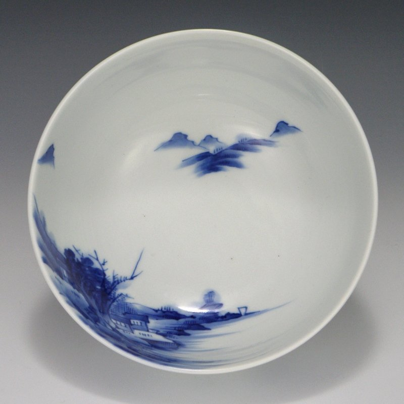 Tominaga Genroku Blue & White Landscape Bowl