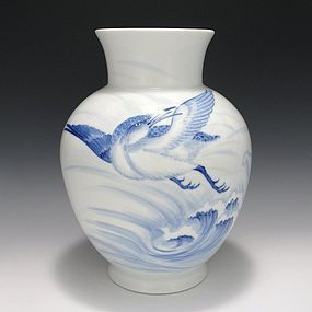 Hirado Japanese Sometsuke Vase - Seagull & Waves
