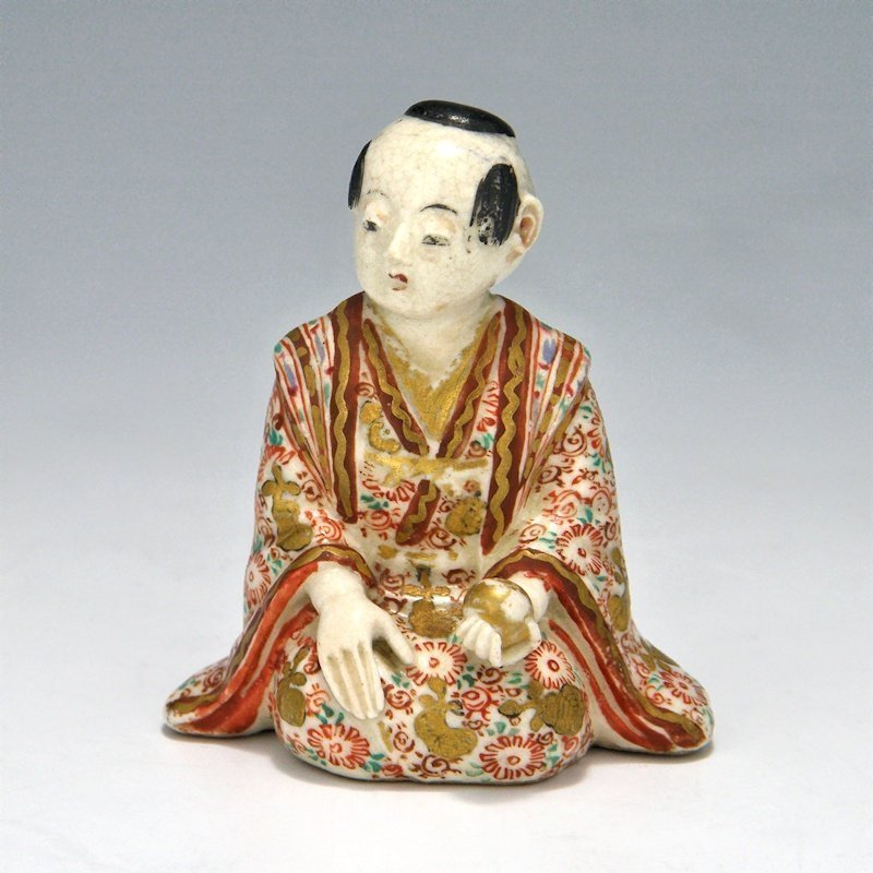 Japanese Satsuma Pottery Boy with Ball