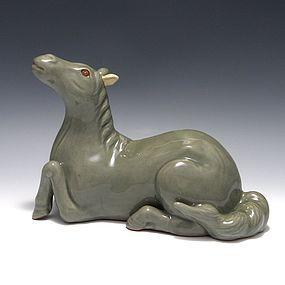 Japanese Edo Celadon Hirado Recumbent Horse