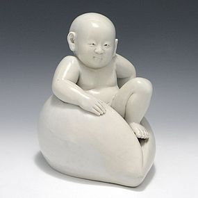 Japanese Edo Hirado Momotaro ( Peach Boy ) Okimono