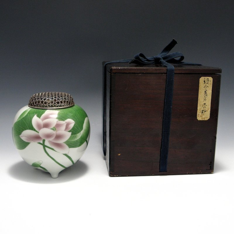 Makuzu Kozan II (Hanzan) Lotus Koro w Silver Lid & Box