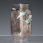Nishiura Enji V Sterling Silver Japanese Cranes Vase
