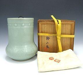 Kanzan Denshichi Japanese Celadon Mizusashi with Box