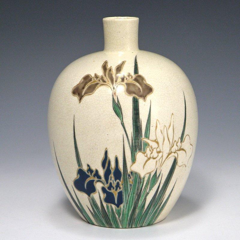 Japanese Edo Kyoto Gosu Blue Iris Vase