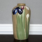 Kinkozan Japanese Pottery Moriage Iris Vase