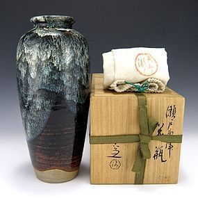 Japanese Kiyomizu Rokubei V Vase with Box - 11 Inches