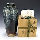 Japanese Kiyomizu Rokubei V Vase with Box - 11 Inches