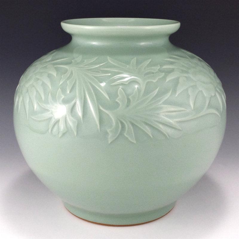 Miyanaga Tozan I Japanese Celadon Vase
