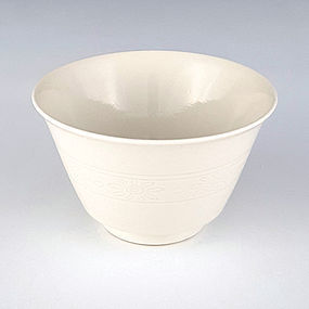 Seifu Yohei III Hakuji Incised Flower Tea Bowl