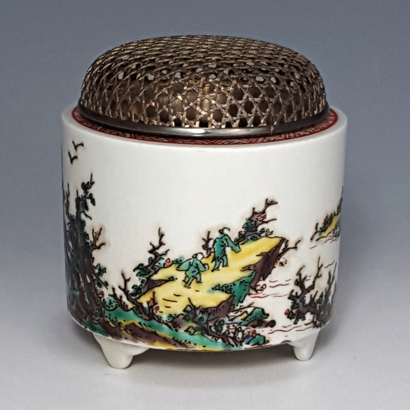 Japanese Kutani Sansui Koro with Pure Silver Lid & Box