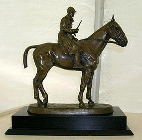 French Bronze Figural Huntsman Horse Signed A. Guiet