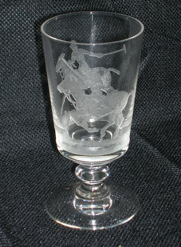 Rare Heisey Etched Polo Player Decanter and Glasses Set