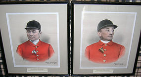 Pair English Huntsman Engravings Handcolored AP c 1888