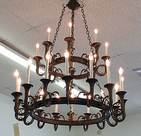 Solid Brass Dbl Tier 24 Light Hunt Horn Chandelier