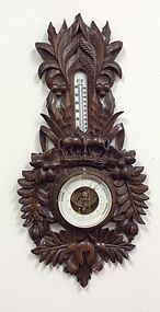 VINTAGE BLACK FOREST BAROMETER CARVED HORSES THERMOMETER