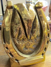 ANTIQUE SOLID BRASS HORSE HOOF DOORSTOP