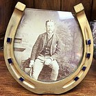 ANTIQUE ENGLISH GILDED ENAMEL HORSE SHOE PICTURE FRAME