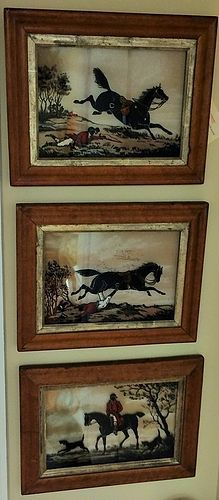 EARLY REVERSE PAINTED HUNT SCENE FOLLIES FRAMED TRIO