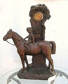 Antique Figural Working Clock Boy on HORSE Czech
