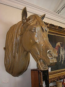 19TH Century Zinc Horse Head Trade Sign Livery