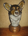 Huge Bronze Head Study Of a Corgi  MARGERY TORREY