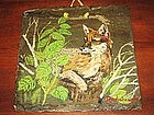 Vintage Hand Painted Fox on Slate Americana