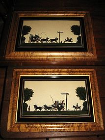 Vintage Coaching London Oxford Reverse Paintings