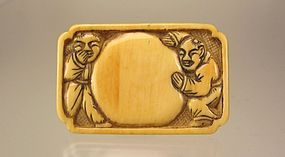 19th C. Japanese Netsuke Manju: kanzan and Jittoku