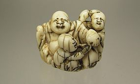 Early 19th C. Japanese Netsuke:  Hotei with Karakos