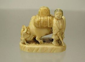 Antique Japanese Netsuke, Herdboy and Oxen