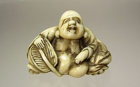 Meiji Period Japanese Netsuke:  Seated Hotei